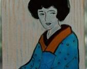Seated Geisha--hand made fused glass window art