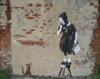 Banksy Canvas (READY TO HANG) - Rat Girl - Multiple Canvas Sizes