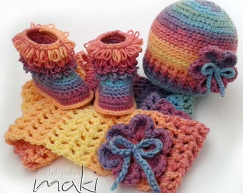 WINTER baby set! Crochet pattern set - baby boots, hat and scarf. Full of large pictures! Permission to sell finished items.