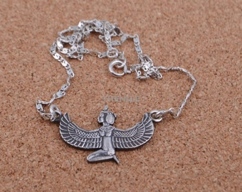 Egyptian Sterling Silver Winged Isis Necklace