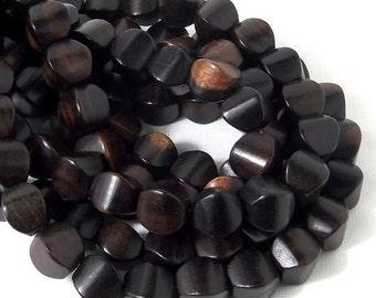Ebony Wood, Cushion, 10mm, Small, Smooth, Natural Wood Beads, Full Strand, 38pcs - ID 2115