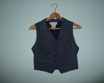 Vintage Cropped Vest in Blue Houndstooth by Benson and Smith