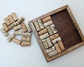 Wine Cork Trivet DIY Kit - Reclaimed Distressed Wood - red brown stain - wine cork crafts