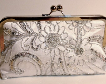 Bridal Clutch Silver Princess Beaded and sequined Clutch Daisy Pattern