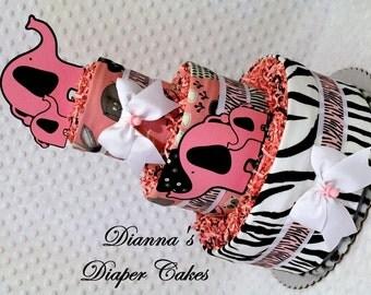 Baby Diaper Cake Pink Elephants Zebra Shower Gift or Centerpiece