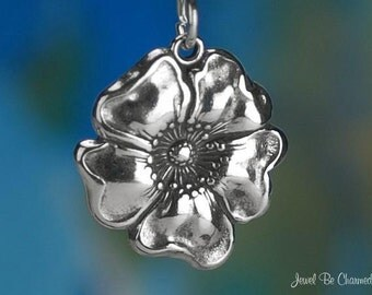 Sterling Silver Poppy Charm Garden Flower or Armistice Day Solid .925
