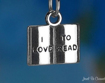 Sterling Silver Book I Love To Read Charm Reading Teacher Solid .925