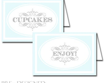 Blessing Blue Buffet & Party Signs by Loralee Lewis