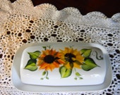 White Porcelain Hand Painted Butter Dish SunFlower Design