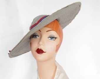 Vintage 1940s hat, gray tilt with blue red ribbons