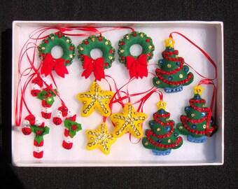 Set of 12 Handmade Sequined Felt Christmas Ornaments