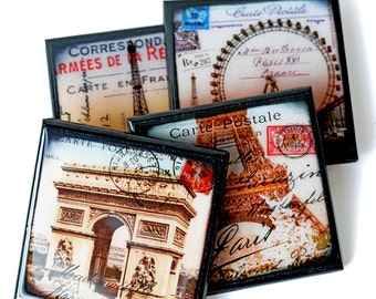 Paris Postcard Coaster Set, Eiffel Tower Drink Coasters, Paris Party Decor, Travel Coasters, Hostess Gift, Wood Coaster Bridal Favor