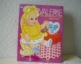 Valerie with Growin Pretty Hair Paper Doll Book, Uncut 1971, Vintage Mattel Doll