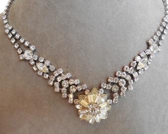 Rhinestone Cluster Necklace & Earrings Set    MBO42