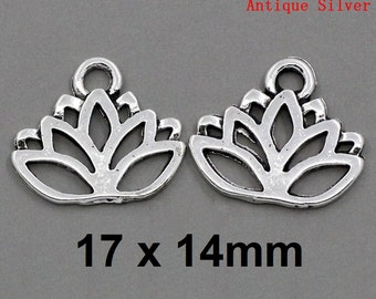 100pcs. Antique Silver Lotus Flower Charms Pendants - 17 x 14mm