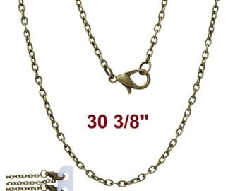 "12 pcs. Antique Bronze Cable Chain Link Necklaces 30 3/8"" - (3 x 2mm Links) - Lobster Clasps - Claw Clasps"