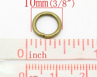 100 pcs Bronze Open Jump Rings - 10mm - 15 Gauge