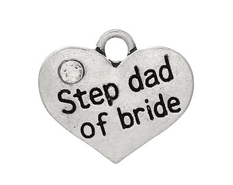 """1 or 2 or 4 pcs. Antique Silver """"Step Dad of Bride"""" charm with rhinestone - 17mm X 15mm"""
