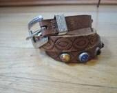 Small Vintage studded Western Belt, tooled leather  belt