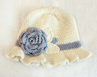 12 to 24m Crochet Sun Hat Baby Hat in Cream and Blue - Crochet Rose Flower Hat Cloche Hat Baby Girl Baby Flapper Girl Photo Prop  Baby Gift