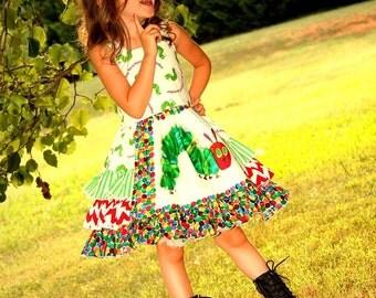 Girls Back To School Dress, Caterpillar Dress, Girls Dress, Kindergarten Dress, Chevron, Polka Dot, Dress, Girls Clothing, Ruffle Dress