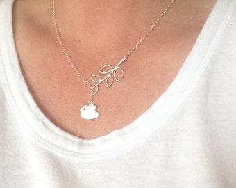 Silver bird necklace, bridesmaid gift, wedding gift, branch necklace, pretty necklace, dainty, nature, bridesmaid gift