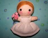 Personalised Custom Cake Topper Bride Wedding Gift Amigurumi Crochet Yarn Kawaii Art Doll Mixed Media