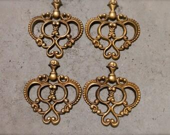 Vintage Cast Aluminum Hoda Wall Hanging Medallion 4 Pieces Architectual Gold