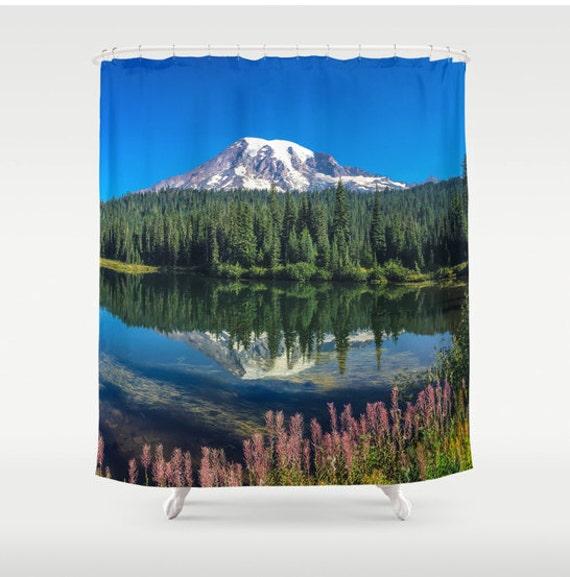 Shower Curtain Mountain Scenic Lake Reflection