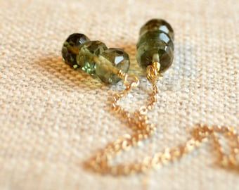 Olive Green Earrings, Quartz Stone Earrings, Gemstone Threaders, Ear Threads, Dainty Gold Jewelry, Free Shipping