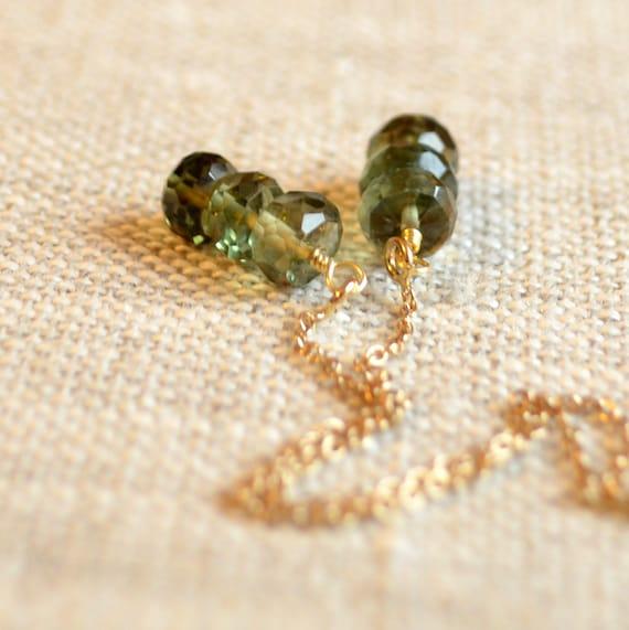 Olive Green Earrings, Quartz Stone Earrings, Gemstone Threaders, Ear Threads, Dainty Gold Jewelry, Free Shipping