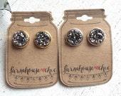 GRAPHITE Druzy Earrings