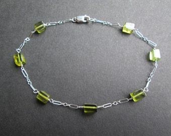 August birthstone-Peridot bracelet-sterling silver chain