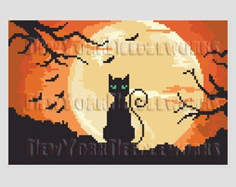 Halloween Cat and Moon Cross Stitch, Halloween Cat Cross Stitch, Halloween Black Cat, Cats, Halloween Cat by NewYorkNeedleworks on Etsy