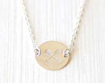 Sterling Silver Stamped Arrow Necklace - simple minimalist hammered jewelry
