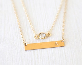 Custom Stamped 14K Gold Filled Initial Bar Plate and Gemstone Sparkle Layering Necklaces Set // Everyday modern simple jewelry