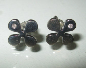 1970's DAISY Post STERLING Silver Earrings with DIAMONDS