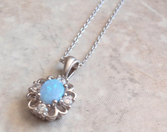 Synthetic Opal Necklace Sterling Silver CZ Accents 18 Inch Cable Chain Vintage AT0259
