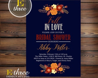 Fall Bridal Shower Invitation - Navy Fall Shower - Orange, Red, Burgundy, Yellow - Floral Autumn Invite #1031