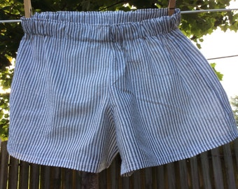 Size Small Black and White Striped  Seersucker Womens Cotton Slumber Party, Lounge, Sleep Shorts, Play Shorts, Boxers.