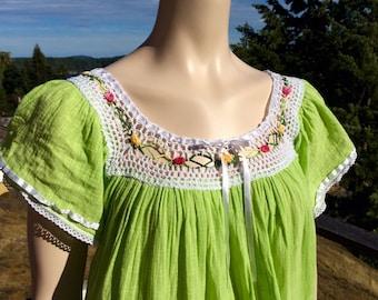 Vintage Hippie Peasant GAUZE and CROCHET Caftan Dress M L