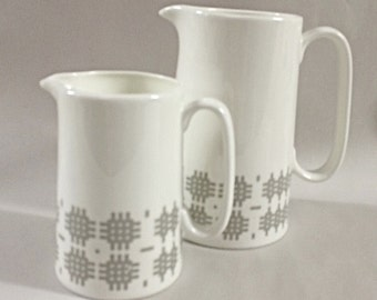Welsh blanket inspired pint bone china jug.