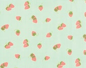 ONE YARD Strawberries in Aqua Hello Darling by Bonnie and Camille for Moda
