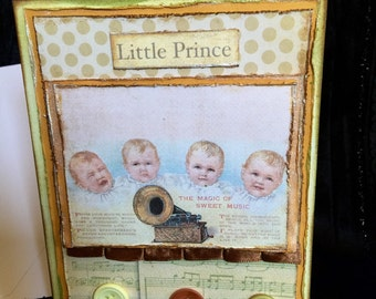 Baby boy shower or birthday card handmade