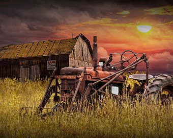 Barn for Sale with Rusty Red Farmall Farm Tractor in a Grassy Field at Sunset No.09763 Rural Fine Art Agricultural Landscape Photography