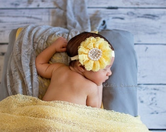 Yellow Baby Headband, Baby Girl Headband, Newborn Baby Girls