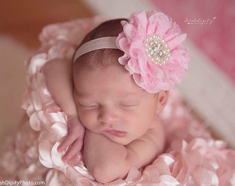 Light Pink Headband, Pink Baby Headband, Newborn Baby Girls Photo Prop