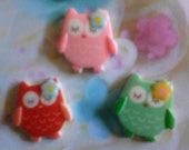 Kawaii sleepy owl cabochon decoden deco diy charms 3 pcs---USA seller
