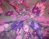 Shades of Purple and Pink on Gray Floral Print Pure Silk Jersey Knit Fabric--One Yard