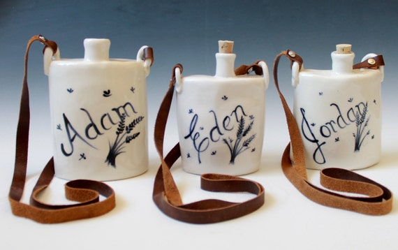Personalized Hip Flasks for Weddings, Porcelain Hip Flask with a Strap , Gift for Weddings and More